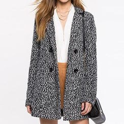 Richcoco - Double-breasted Melange Woolen Coat