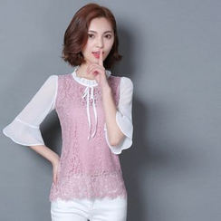 LunarS - Frill Collar Lace Panel Chiffon Blouse