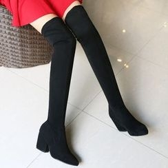 JY Shoes - Block Heel Over-the-Knee Pointy Boots