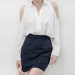 chuu - Long-Sleeve Cutout-Shoulder Blouse