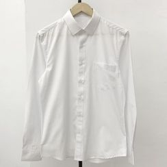 JUN.LEE - Plain Long-Sleeve Shirt