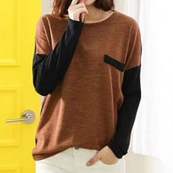 Dream Girl - Colour Block Panel Long-Sleeve T-shirt