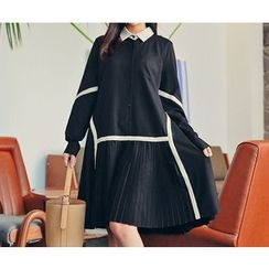 HOTPING - Contrast-Trim Pleated-Hem Shirtdress