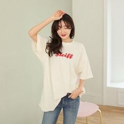 Seoul Fashion - Elbow-Sleeve Lettering Brushed-Fleece T-Shirt
