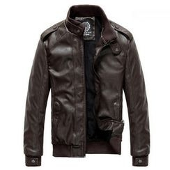 MR.PARK - Faux-Leather Bomber Jacket