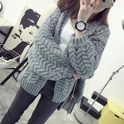 FR - Cable-Knit Open-Front Cardigan