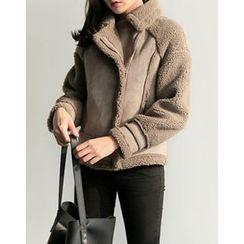 UPTOWNHOLIC - Zip-Detail Faux-Shearling Jacket