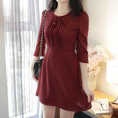 MyFiona - Tie-Front 3/4-Sleeve Chiffon Mini Dress