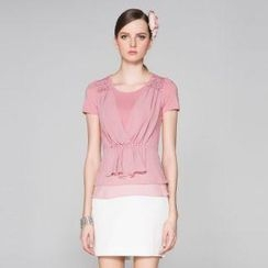 O.SA - Short-Sleeve Frilled Shirred Top