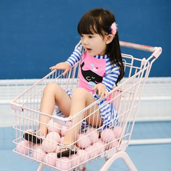 Goldlyre - Kids Set: Whale Print Rashguard + Swim Skirt