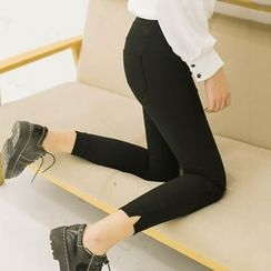 DK Yannie - Slit-Side Slim-Fit Cropped Pants