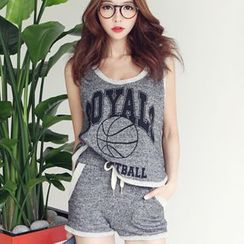 XGZ - Set: Printed Tank Top + Tipped Sweat Shorts
