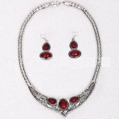 Seirios - Set: Jeweled Necklace + Earrings