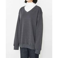 Someday, if - V-Neck Brushed-Fleece Lined Sweatshirt