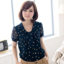CatWorld - Tie-Neck Polka-Dot Chiffon Blouse
