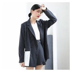 HORG - Set: Pinstriped Double-Breasted Blazer + A-Line Skirt with Belt