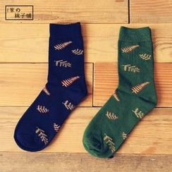 Socka - 英伦风松树叶纯棉中筒袜