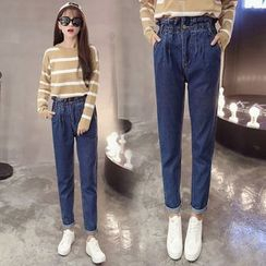 Nassyi - Paperbag Waist Straight-Cut Jeans
