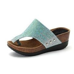 MODELSIS - Genuine Leather Glittered Wedge Flip-Flops