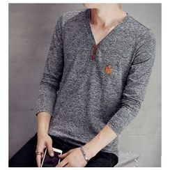 Fisen - V-Neck Long-Sleeve T-Shirt