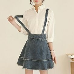 Yohana - Denim A-Line Suspender Skirt
