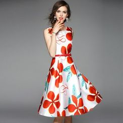 Queen Mulock - Sleeveless Belted Floral Dress