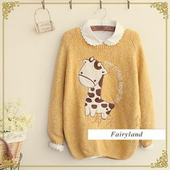Fairyland - Giraffe Appliqué Mélange Knit Sweater