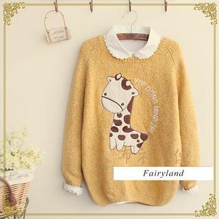 Knitting Pattern For Giraffe Sweater : Fairyland Giraffe Applique Melange Knit Sweater YESSTYLE