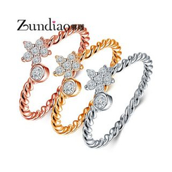 Zundiao - Sterling Silver Rhinestone Flower Ring