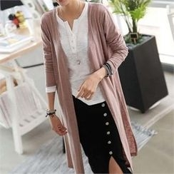 CHICFOX - Slit-Side Open-Front Long Cardigan