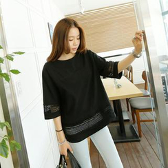 REDOPIN - Cotton Blend Lace-Trim T-Shirt