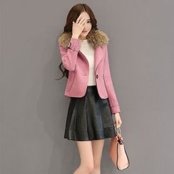 AiSun - Furry Trim Notch Lapel Coat