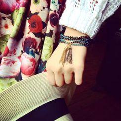 Ticoo - Multi-Strand Beaded Tassel Bracelet