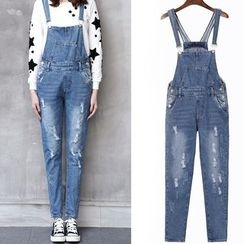 Ranee - Distressed Suspender Jeans