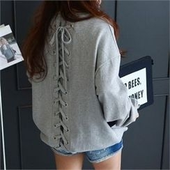 PEPER - Lace-Up Back Pullover