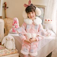 Candy Rain - Kids Plaid Woolen Jacket