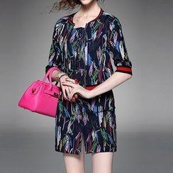 Alaroo - 套裝: 印花鈕扣帶式牛仔連衣裙 + 七分袖外套
