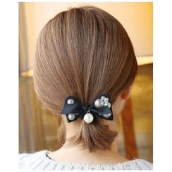 Miss21 Korea - Faux-Pearl Embellished Bow Hair Tie
