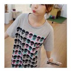 Love Seoul - Short-Sleeve Skull Print T-Shirt