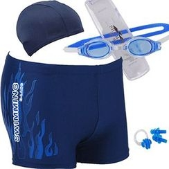 Aqua Wave - Set : Panel Swim Shorts + Swim Hat + Goggles + Ear Plugs + Nose Clip