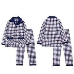 Hodohome - Pajama Set: Quilted Gingham Shirt + Pants
