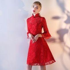 Fantasy Bride - 3/4-Sleeve Lace Cocktail Dress