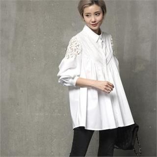 HALUMAYBE - Oversized Pintuck A-Line Shirt