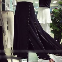 QZ Lady - Studded Slit Midi Skirt