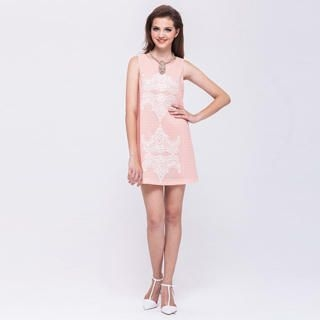 I-DOU - Sleeveless Lace-Front Textured Dress