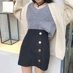 Bloombloom - Side Buttoned Mini Skirt