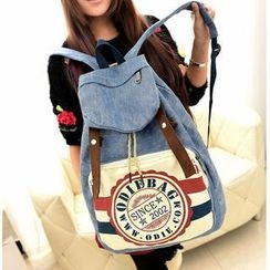 Miss Sweety - Drawstring Printed Denim Backpack