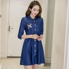Cherry Dress - Sequined Denim Shirtdress