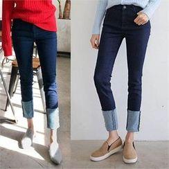 QNIGIRLS - Cuffed-Hem Straight-Cut Jeans