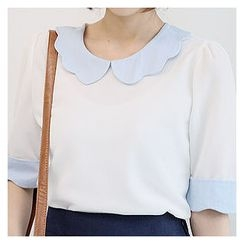 Sechuna - Contrast Scallop-Edge Top